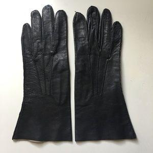 Vintage Black Leather Women's Gloves